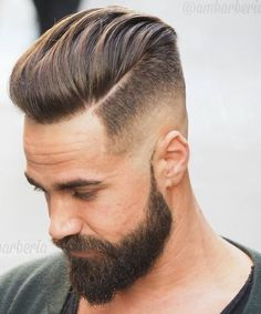 Medium Length Pompadour + Hard Side Part - Disconnected Undercut Hairstyles Pompadour Hairstyle, Undercut Hairstyles, Hairstyles Haircuts, Men Undercut, Men's Pompadour, Medium Hairstyles, Latest Hairstyles, Modern Pompadour, Funky Hairstyles