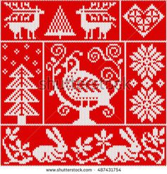 Seamless knitting pattern with bird, deer, fir, heart, rabbit, snowflake, and other winter elements. Red and white Christmas knitted background in the scandinavian style. Holiday design. Vector
