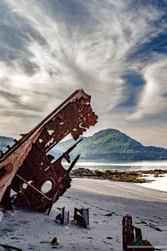 What is left of a ship wreck on the VFW beach in Kodiak, Alaska, Image by Melissa Baines graphic design and photography out of Mobile, AL.