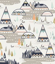 Indian Summer Woodland Pine Cotton Fabric by the yard, Art Gallery Fabric, Woodland Fabric, Teepee Fabric, Baby Boy Fabric Pochette Cd, Woodland Fabric, Art Gallery Fabrics, Indian Summer, Pretty Patterns, Pattern Illustration, Surface Pattern Design, Pattern Wallpaper, Textures Patterns