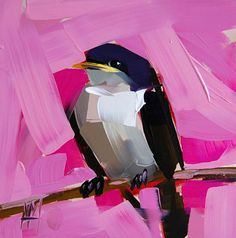 Purple Martin no. 8 original bird oil painting by Angela Moulton prattcreekart