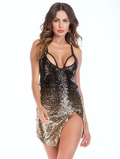 Color : Blond Neckline : Straps Embellishment : Sequins, Glitter Occasion : Formal Evening, Party, Night Out The post Sexy Straps Sequins Glitter Slit Mini Club Dress appeared first on Power Day Sale. Sexy Outfits, Bodycon Outfits, Chic Outfits, Sexy Dresses, Bodycon Dress, Fashion Outfits, Women's Fashion, Party Outfits, Party Dresses