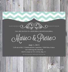 Chevron and Chalkboard Wedding Rehearsal Dinner Invitation / DIY Printable