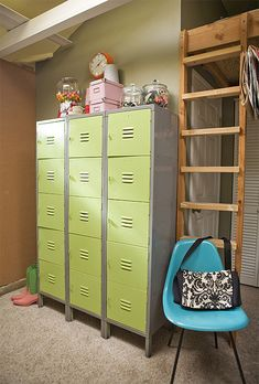What a great storage system for the garage or basement! #Green lockers, #blue school chair, #gumballs