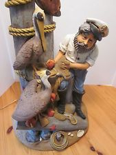 Vintage rare collectible XL large 3'ft fisherman lamp w pelicans Apsit Bros 1986