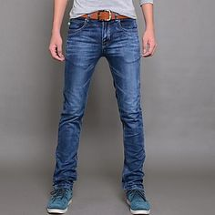 Hombres fuerza elástica Delgado Jeans Pantalones Lápiz - MXN $ 437.92