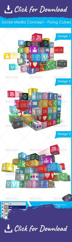 concept, cubes, flying, media, social ================================== Social Media Concept – Flying 3D Social media IconsUse this cool 3D Social Media Icons Cube style graphic in your Presentations, Websites and other material and amaze your viewers.    This file has features to make Depth of Field and Motion Blur On or Off easily via  PSD  Layers.   Files included-   Three different angel designs in different Perspectives   100% Transparent  PNG     PSD  Files with option to cha...