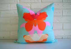 Colorful Boho Pillow Cover - Pink Coral Blue Throw Pillow - Shabby Chic Girls Room Decor on Etsy, $52.00