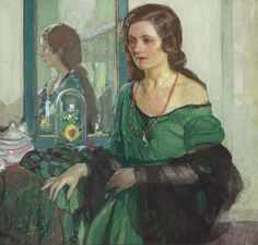 1932 (ок)_Дама в зеленом (Lady in green)_86.4 х 91.4_д.,м._Частное собрание      Ричард Е. Миллер (Richard E. Miller), 1875-1943. США