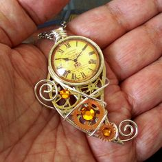 necklace asymmetrical coppertronic gears jewelry pendant resin steampunk upcycled art wirework