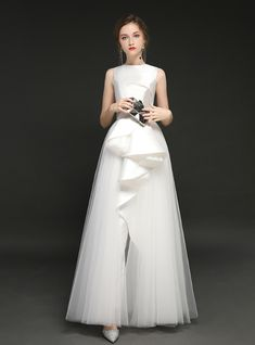 In Stock:Ship in 48 Hours White Tulle Satin Long Prom Dress Girls Formal Dresses, Prom Dresses Long With Sleeves, Blue Dresses, Wedding Dresses, Dresscode, Tulle Prom Dress, Up Girl, Buy Dress, Marie