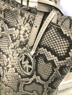 Michael Kors Large Lenox Python embossed leather Shoulder Tote & Zip Clutch #Ad , #Ad, #Lenox#Python#embossed