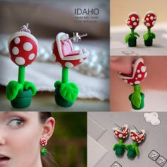Fashion Gift POLYMER CLAY Earrings stud Super Mario Piranha plant corpse Flower Earrings earring studs