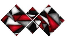 RED BLACK WHITE GREY ABSTRACT CANVAS WALL ART 4 PANEL SPLIT PICTURE 148cm wide uk.picclick.com