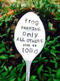 Frog Parking Only All Others Will Be Toad Garden Marker Garden Spoon Garden Sign Gardener Gift Mothers Day Gift Spring Gardening Herb Garden Diy Garden, Garden Crafts, Spring Garden, Garden Projects, Garden Art, Shade Garden, Garden Frogs, Potager Garden, Garden Compost