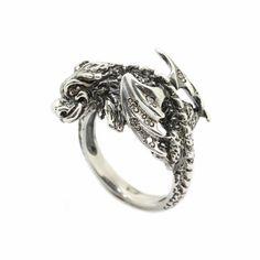 Falkor the Luck Dragon Ring with Zircons Sterling Silver 925 925 Silver, Sterling Silver Rings, Dragon Ring, Beautiful Dragon, Black Rings, Gemstone Colors, Rings For Men, Gemstones, Pendant