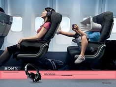 Visual-driven ads have done very well with metaphor. Here's one lovely example, part of a campaign for Sony Noise Cancelling Headphones done by Bagby and Company, Chicago Tech Gadgets, Cool Gadgets, Travel Gadgets, Visual Metaphor, Noise Cancelling Headphones, Loudspeaker, Copywriting, Listening To Music, Movies To Watch