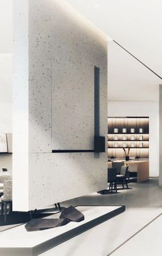 Modern Fireplace, Fireplace Design, Stone Wall Design, Contemporary Interior Design, Interior Walls, Interiores Design, Interior Architecture, Living Room Designs, Furniture Design