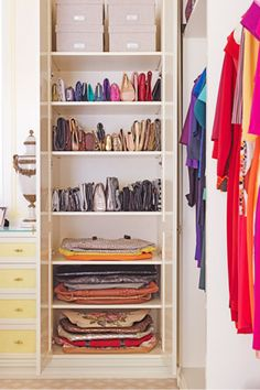 colorful, organized closet