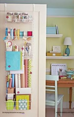 Chef's Pantry Door Rack is great for keeping wrinkles away from wrapping paper & ribbon! (chefs catalog.com) from haileyshelpfulhints.blogspot.com
