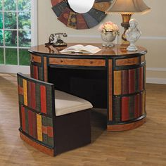 Design Toscano Nettlestone Oval Study Desk and Side Chair