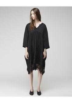 Zucca / Nouveau Dress | La Garçonne. Nouveau Dress by Zucca.  A modern dress with vintage inspired looped embroidery & hemline fringe.