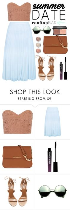 """Summer Date: Rooftop Bar"" by dora04 ❤ liked on Polyvore featuring TIBI, New Look, MICHAEL Michael Kors, NYX, Aquazzura, Terre Mère, Revo, blacklUp, summerdate and rooftopbar"
