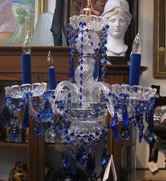 Cobalt Blue Crystal Chandelier