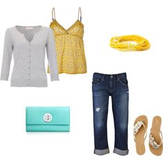 Great look for casual or vacation summer wear, but not crazy about that purse. It isn't large enough for me, anyway.  It's always smart to keep a sweater close by because there are always some hot natured people around who keep a room cold!