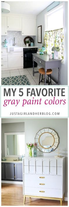 5 awesome gray paint colors! This is so helpful to know so I don't have to try out a million paint samples! Click through to the post to see her favorites!
