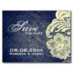 rustic navy blue burlap lace country save the date postcard http://www.zazzle.com/themeweddingboutique*