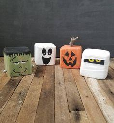 Halloween Decoration Reclaimed Wood Frankenstein, Mummy, Jack-o-lantern, Ghost Block Spooky Friends Fall Wood Crafts, Halloween Wood Crafts, Wood Block Crafts, Creepy Halloween Decorations, Halloween Items, Decor Crafts, Fall Decorations, Holiday Crafts, 4x4 Wood Crafts