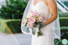 Downtown Charleston HARBOUR CLUB WEDDING with blush pink, sage, gray and ivory decor // Bride and Groom portraits by Aaron and Jillian Photography