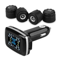Digital Tire Pressure Monitoring System 12V TPMS Tire Pressure Alarm tire pressure alarm Car Charger tyre pressure sensor