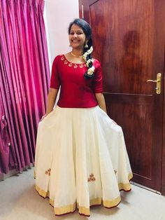 Kerala Saree Blouse Designs, Half Saree Designs, Saree Blouse Neck Designs, Dress Neck Designs, Designs For Dresses, Indian Skirt, Dress Indian Style, Indian Dresses, Traditional Skirts