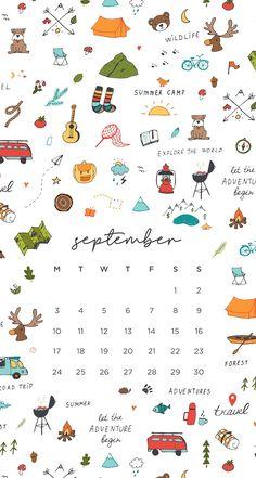 September 2018 Wallpaper calendar iPhone