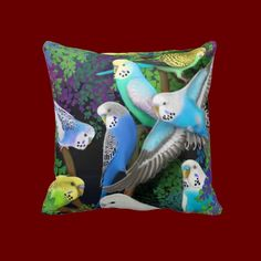 Budgerigars in Ferns Pillow  http://www.zazzle.com/budgerigars_in_ferns_pillow-189274778147744559#