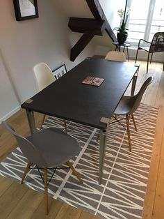 The TIPTOE table leg lets you create a table or a desk with almost any flat surface thanks to its clamping system. Create unique furniture with our powder-coated steel table legs. Table Diy, Dining Table, Console, Modular Table, Steel Table Legs, Desk Legs, Unique Furniture, Create, Home Decor