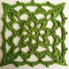 """Lacy Block, free pattern by Iin Wibisono. 5.5"""" square worked with baby yarn & hook size C. #crdochet #square #motif"""