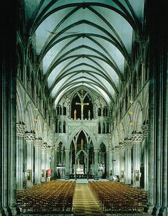 Beautiful view of the inside of Nidaros Cathedral in Trondheim, Norway...Saint Olav is buried under this Cathedral.