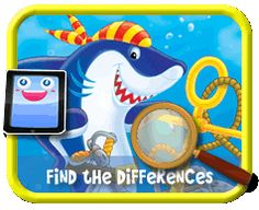 Cartoon Shark - Find the Differences Game for Kids Find The Differences Games, Hidden Pictures, Different, Games For Kids, Kids Playing, Shark, Cartoon, Activities, Children