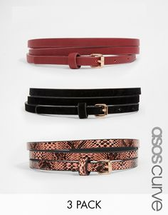 ASOS+CURVE+3+Pack+Super+Skinny+Faux+Suede+PU+And+Faux+Snake+Belts