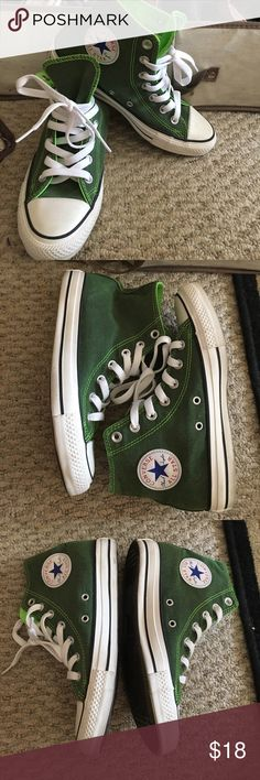 Green high top converse Only worn once high top converse! Olive green outside with neon green lining. No visible wear and tear Converse Shoes Sneakers