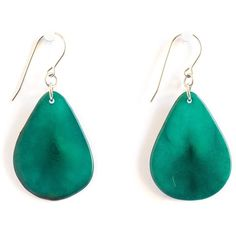 Leaf Tagua Earrings - Green Sea