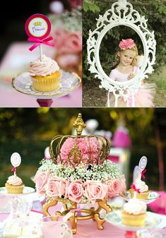 princess party - Photo booth idea is simple and inexpensive, and I adore that flower centerpiece