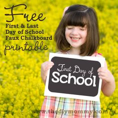 Free First & Last Day of School Faux Chalboard Printables by The DIY Mommy. Have you printed yours for back to school?