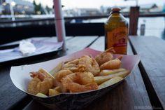 Fish and Chips versão australiana acompanhado por cerveja de gengibre