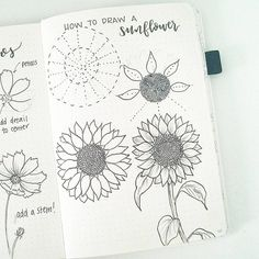 "2,896 Likes, 38 Comments - liz (@bonjournal_) on Instagram: ""Happy Friday! By request, here are the steps to draw a sunflower. To me, the hardest part is…"""