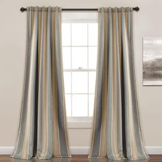 Lush Decor Julia Striped Room Darkening Window Curtain Panel Pair