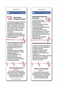 Stock Heart Health BookmarksMen and Women experience different symptoms when having a heart a heart attack. Our new Heart Attack/Stroke bookmark addresses this. #heartattack #stroke